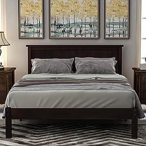 Espresso Bed Frame 350lb Heavy Duty,JULYFOX Hard Wood Full Platform Bed with Headboard No Box Spring Needed(Espresso,Full Size)