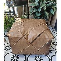 "RISEON Boho Handmade Faux PU Leather Moroccan Pouf Footstool Ottoman Leather Poufs Unstuffed 18.9"" x 14.96"" -Square…"