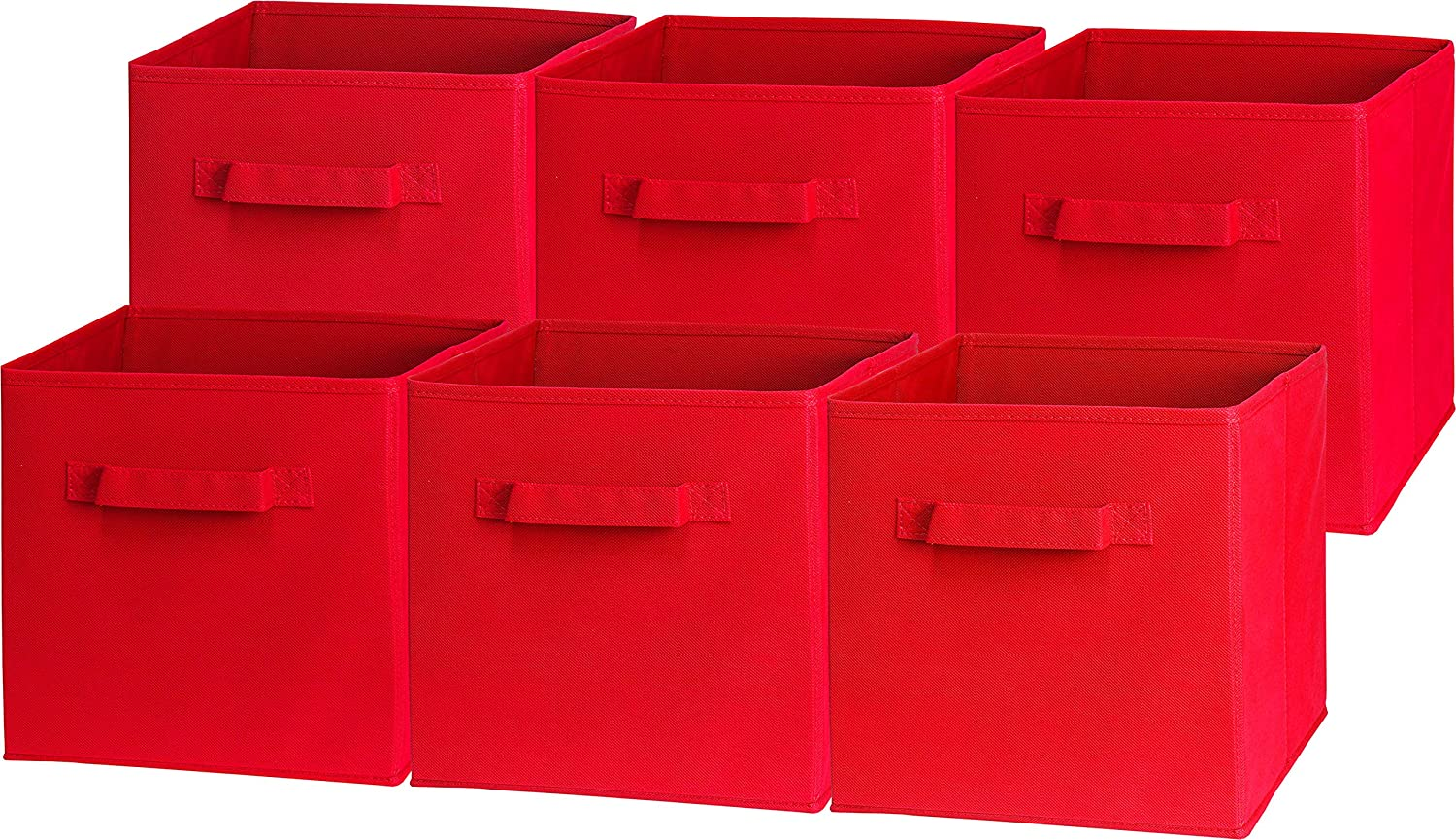 6 Pack - SimpleHouseware Foldable Cube Storage Bin, Red