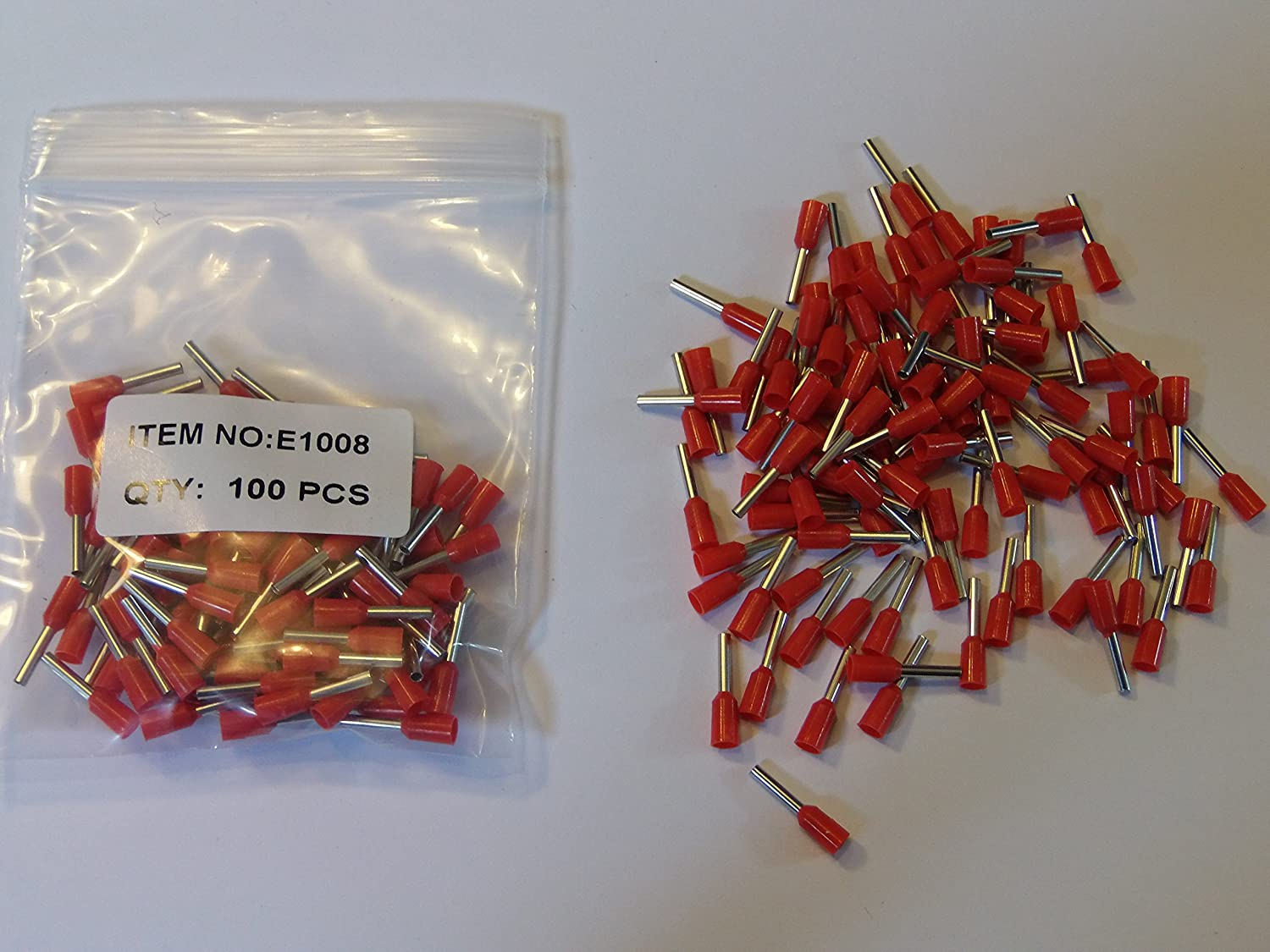 RED FOR 1.00mm cable 1.00mm INSULATED BOOTLACE FERRULE TERMINALS 100 PACK