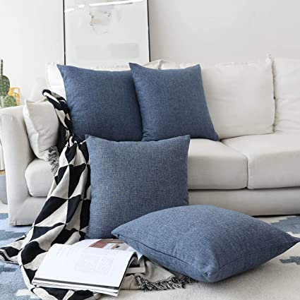 Home Brilliant Set Of 4 Lined Linen Textured Decorative Decoration Throw Pillow Cover Indigo Cushion Covers For Sectional 18x18 Inch Navy Blue
