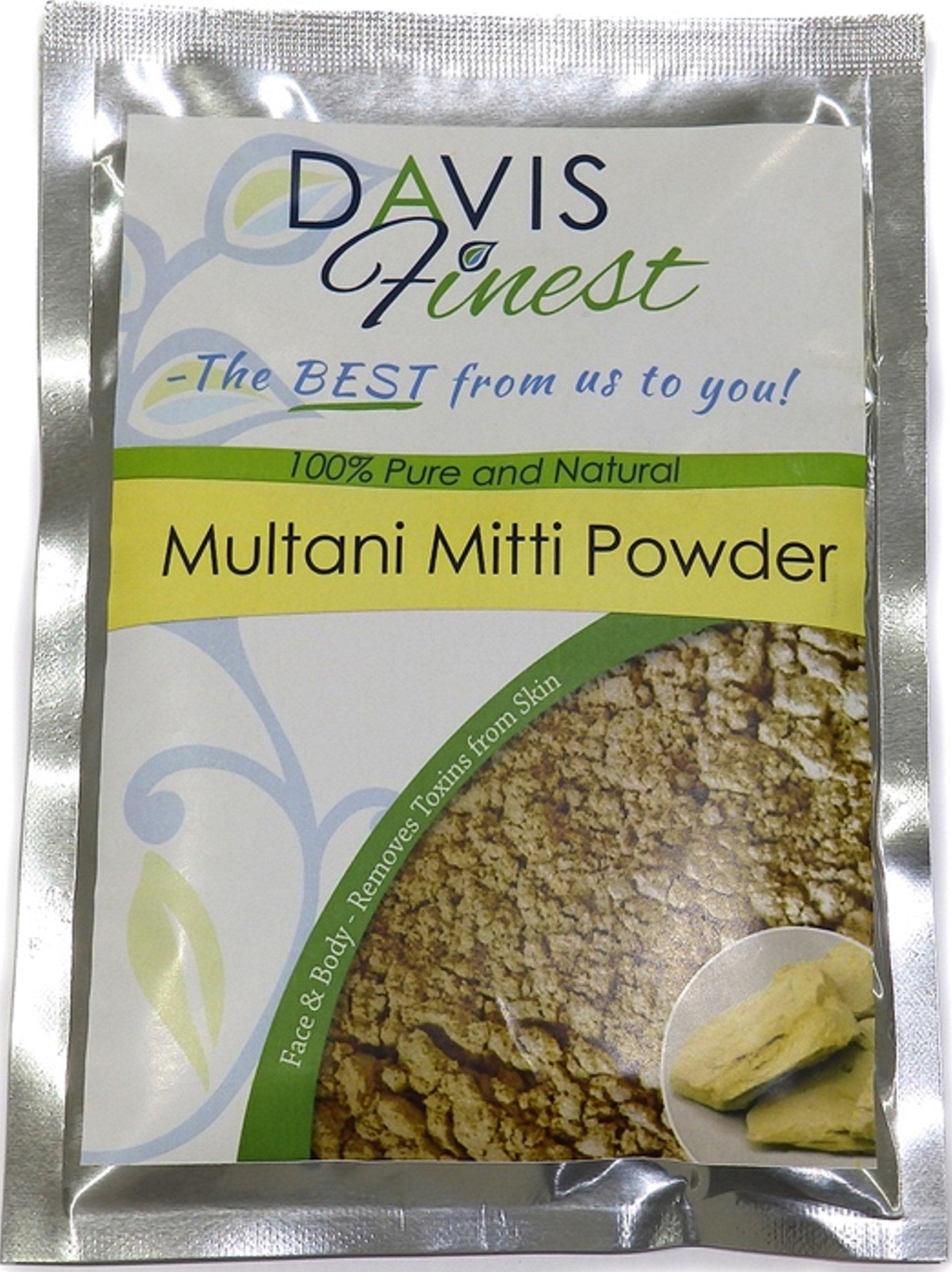 Davis Finest Multani Mitti Powder for Face Hair Skin Lightening Brightening, Fullers Earth Indian Healing Bentonite Clay Pore Minimizer 100g