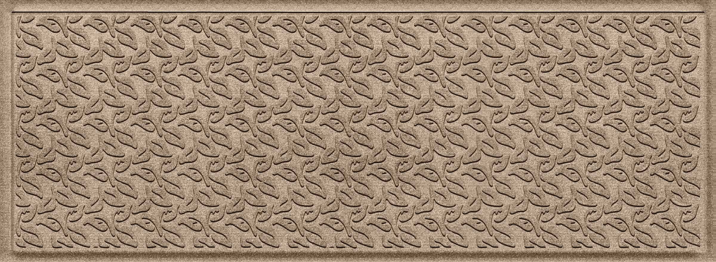 Bungalow Flooring Waterhog Indoor/Outdoor Runner Rug, 22'' x 60'', Skid Resistant, Easy to Clean, Catches Water and Debris, Dogwood Leaf Collection, Khaki/Camel