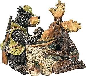 Design Toscano HF665390 Moose and Black Bear Arm Wrestling Statue,full color