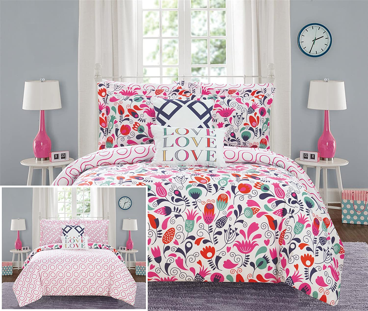 Chic Home Tulip 7 Piece Reversible Comforter Colorful Floral Print Design Bed in a Bag-Sheet Set Decorative Pillows Sham Included/XL Size, Twin, Pink