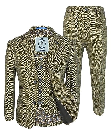 6a609c4fe Boys Tweed Herringbone Wool Blend Wedding Suits: Amazon.co.uk: Clothing