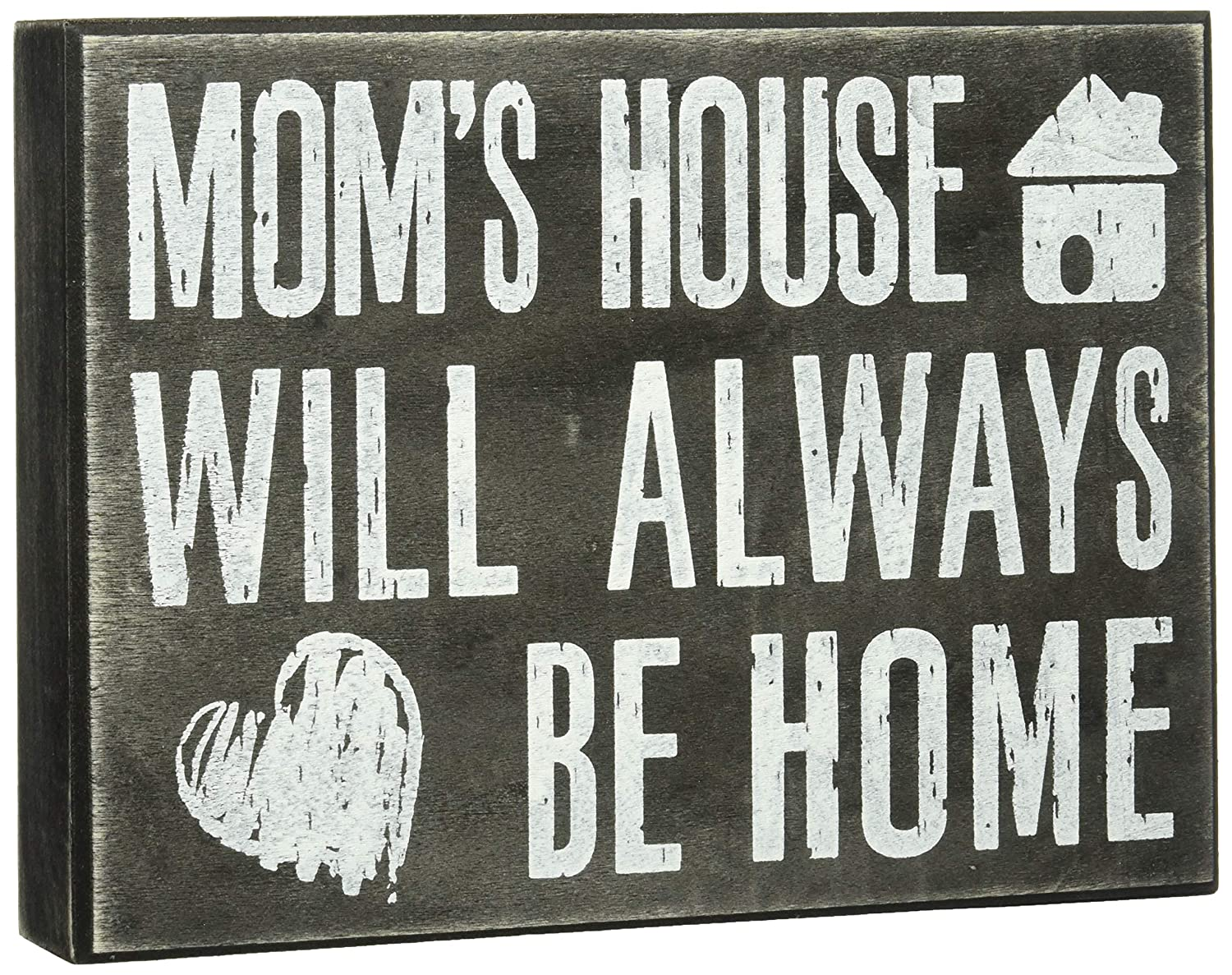 JennyGems - Mom's House Will Always Be Home - Wooden Mom Quote Saying Box Sign - Sentimental Gift - Mom Sign - Presents for Mom - Mom Gifts - Mother's Day Gift for Mom and Grandma - Mom Plaque