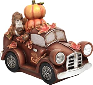 Valery Madelyn Fall Truck Decorations for Home with Lights, Truck Figurine with Pumpkin, Thanksgiving Decor for Autumn Halloween Tabletop Indoor Outside, 10.6 Inch Tall, Battery Operated(Included)