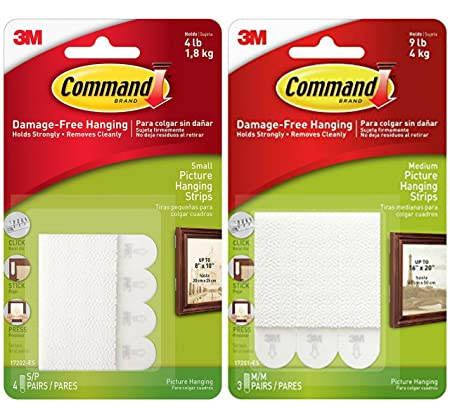 3m Command Small And Medium Picture Hanging Strips Value Pack 4