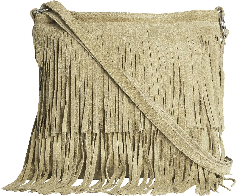 LiaTalia Womens Fringe Handbag - Real Italian Suede Leather - Tassle Effect Shoulder Bag - (Large Size) - ASHLEY