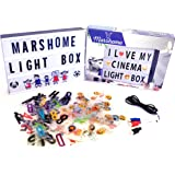 MARSHOME Cinema Light Box with 273 Letters & Symbols + 60 in USB Cable Bright Letter LED Box A4 Size Vintage Cinematic Light Box Changeable Message Sign