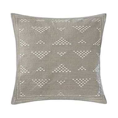 Ink+Ivy Cario Embroidered Cotton Modern Throw Pillow, Casual Geometric Square Fashion Decorative Pillow, 18X18, Taupe