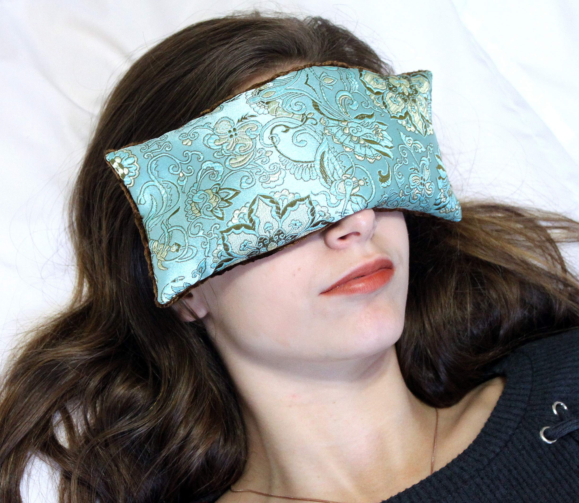 Candi Andi Handmade Eye Pillow | Stress, Anxiety, Migraine Relief, Sleep Aid, Aromatherapy | Hot/Cold | Flax Seed Filled | Lavender Scented | Satin Brocade & Crushed Velvet | Blue Lagoon - TEPL-BL by Candi Andi