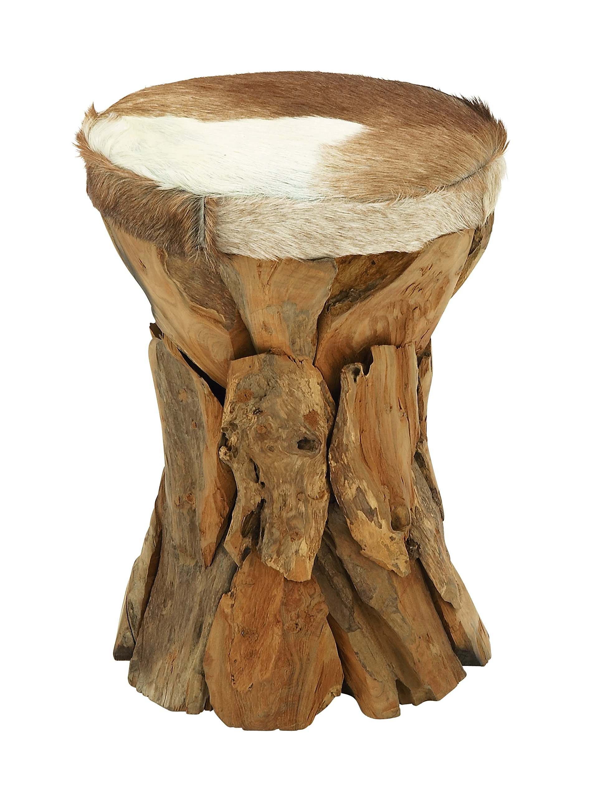 Deco 79 37644 Wood Hide Leather Round Stool, 14'' x 21''