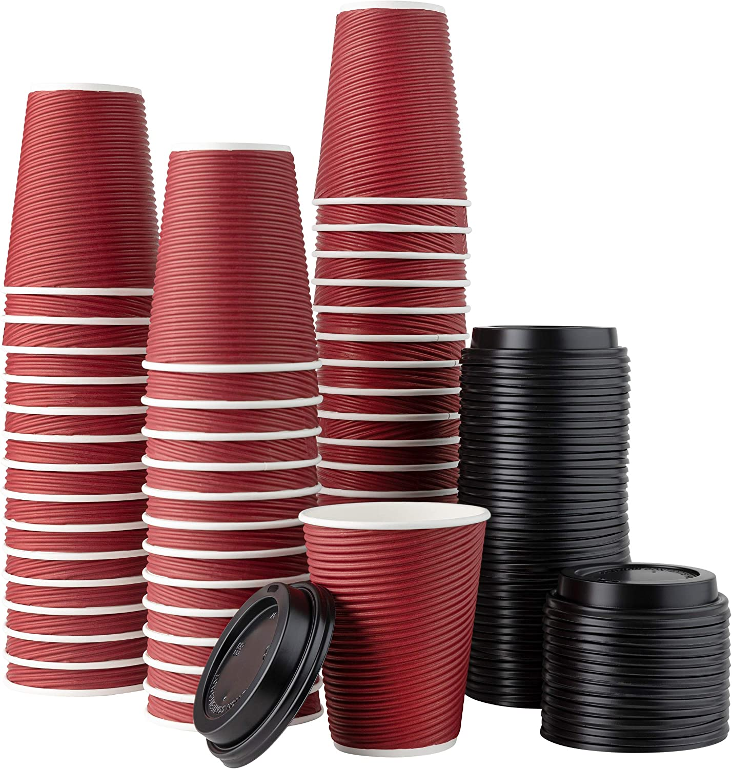 [50 Sets - 12 oz.] Insulated Rippled Double Wall Paper Hot Coffee Cups With Lids, Burgundy