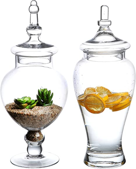 Set Of 2 Large Decorative Clear Glass Apothecary Jars Wedding Centerpieces Candy Storage Canister Mygift Amazon Ca Home Kitchen