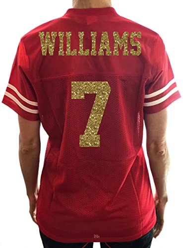 25ce1bbcd770 Amazon.com  Red   Gold Personalized Glitter Jersey for Women ...
