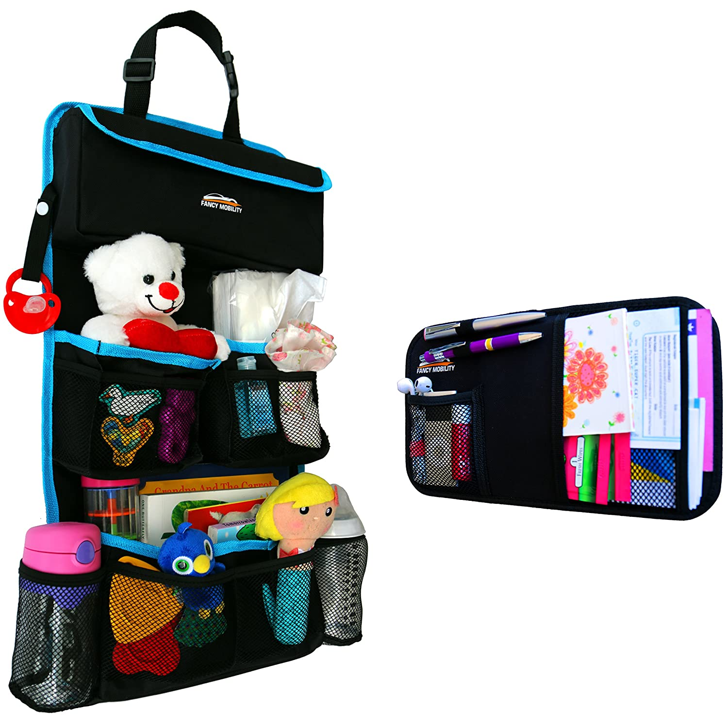 Fancy Mobility Car Backseat Organizer - Baby Accessories, Kids Small Toys & Travel Essentials Holder - Great Storage Bag for Road Trips - Perfect Baby Shower Gift - Includes Visor Organizer - 2Pack