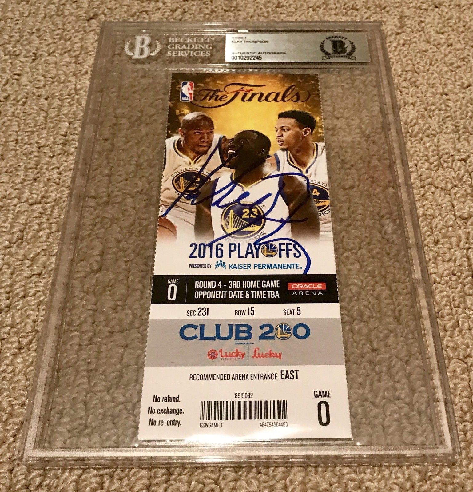 Klay Thompson Signed Autograph Finals Ticket Stub Warriors Beckett Certified Slabbed Signed Autograph