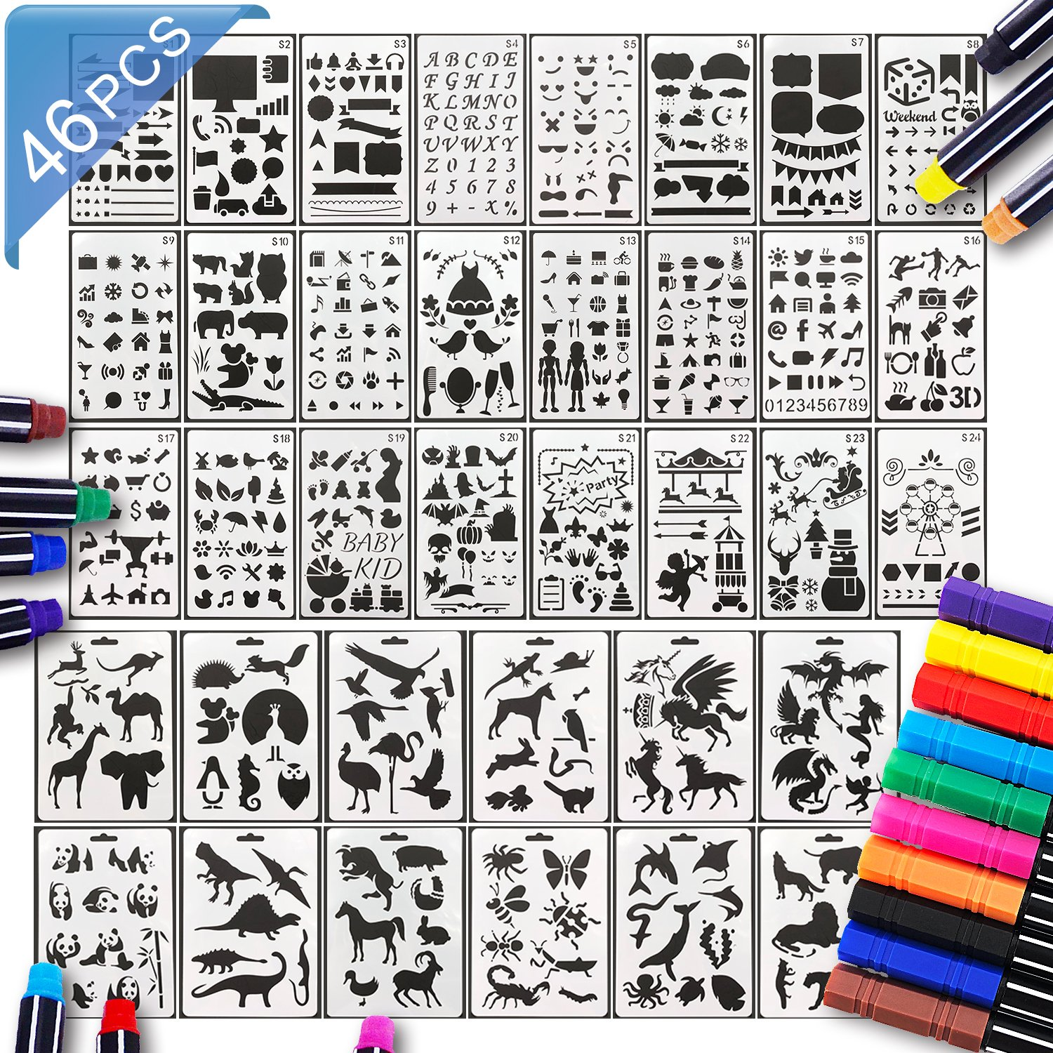 36PCS A5 Bullet Journal Stencils and 10 Colored Planner Pens-Plastic Planner Template for Notebook, Diary, Scrapbooks, Drawing, DIY Painting Craft