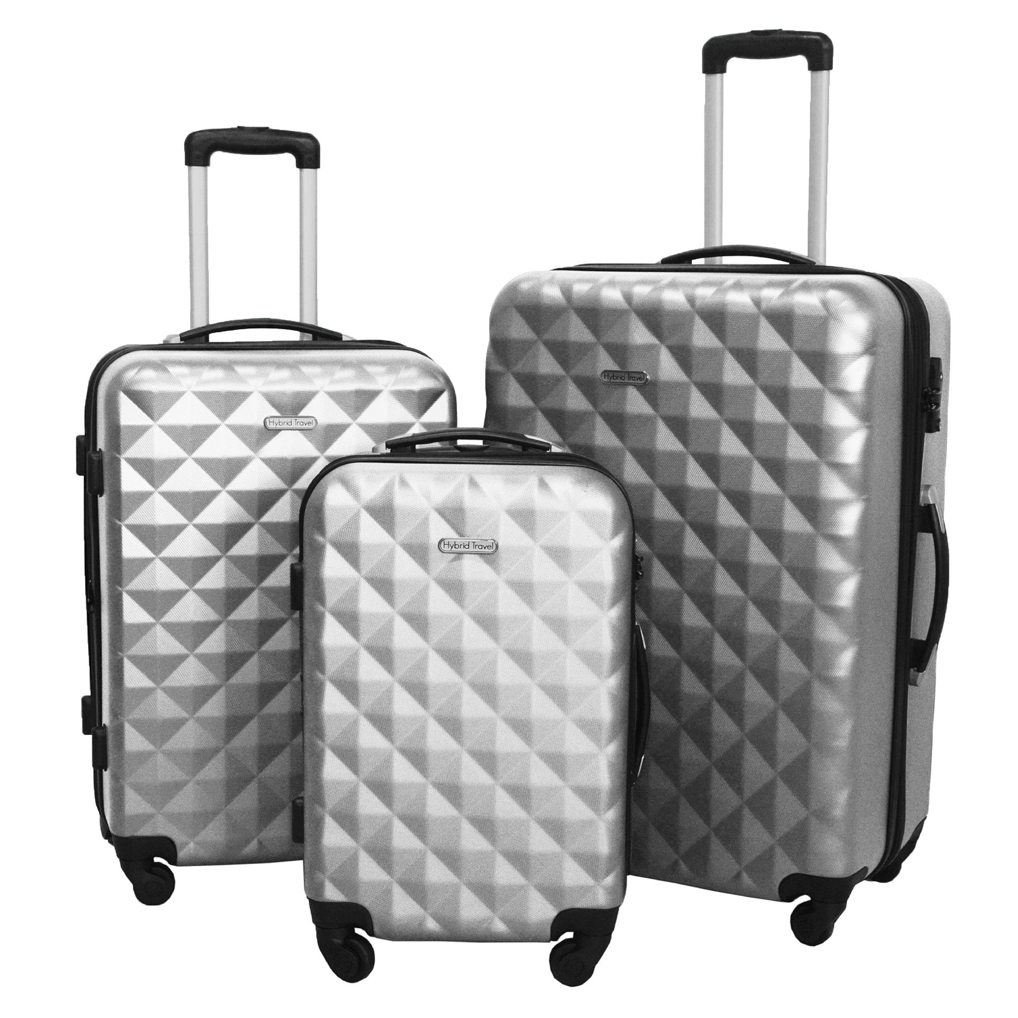 3 Piece Luggage Set Durable Lightweight Hard Case Spinner Suitecase LUG3 SS577A SILVER SILVER by HyBrid & Company