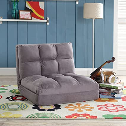 Surprising Loungie Micro Suede 5 Position Adjustable Convertible Flip Chair Sleeper Dorm Bed Couch Lounger Sofa Grey Alphanode Cool Chair Designs And Ideas Alphanodeonline