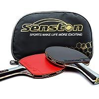 senston ITTF Set Di Mazze Da Racchetta Da Ping Pong, Paddle Da Ping Pong con 2 Pipistrelli (Manico Lungo)