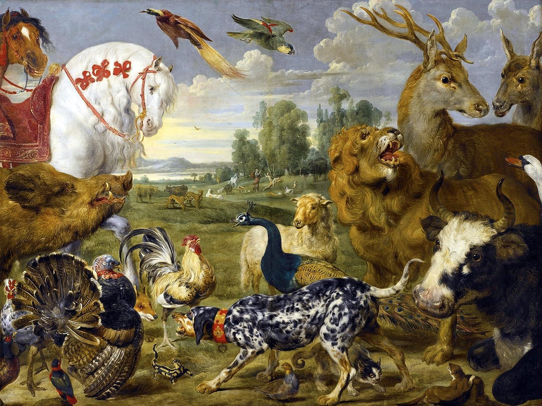 GARDEN OF EDEN animals P. de Vos Tile Mural Wall Backsplash Art ...
