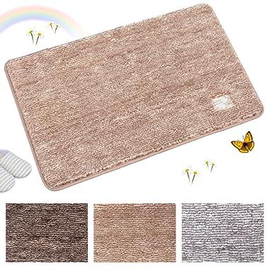 Indoor Doormat Super Absorbs Mud Absorbent Rubber Backing Non Slip Door Mat for Front Door Inside Floor Dirt Trapper Mats Cotton Entrance Rug, 20 x 31.5  Shoes Scraper Machine Washable Carpet (Brown)