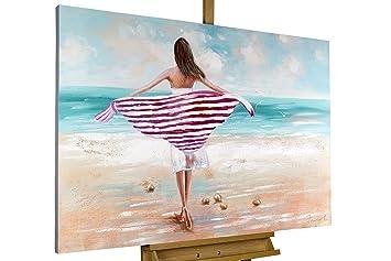 Handgemalte Bilder Auf Leinwand amazon de kunstloft acryl gemälde salty sea 120x80cm