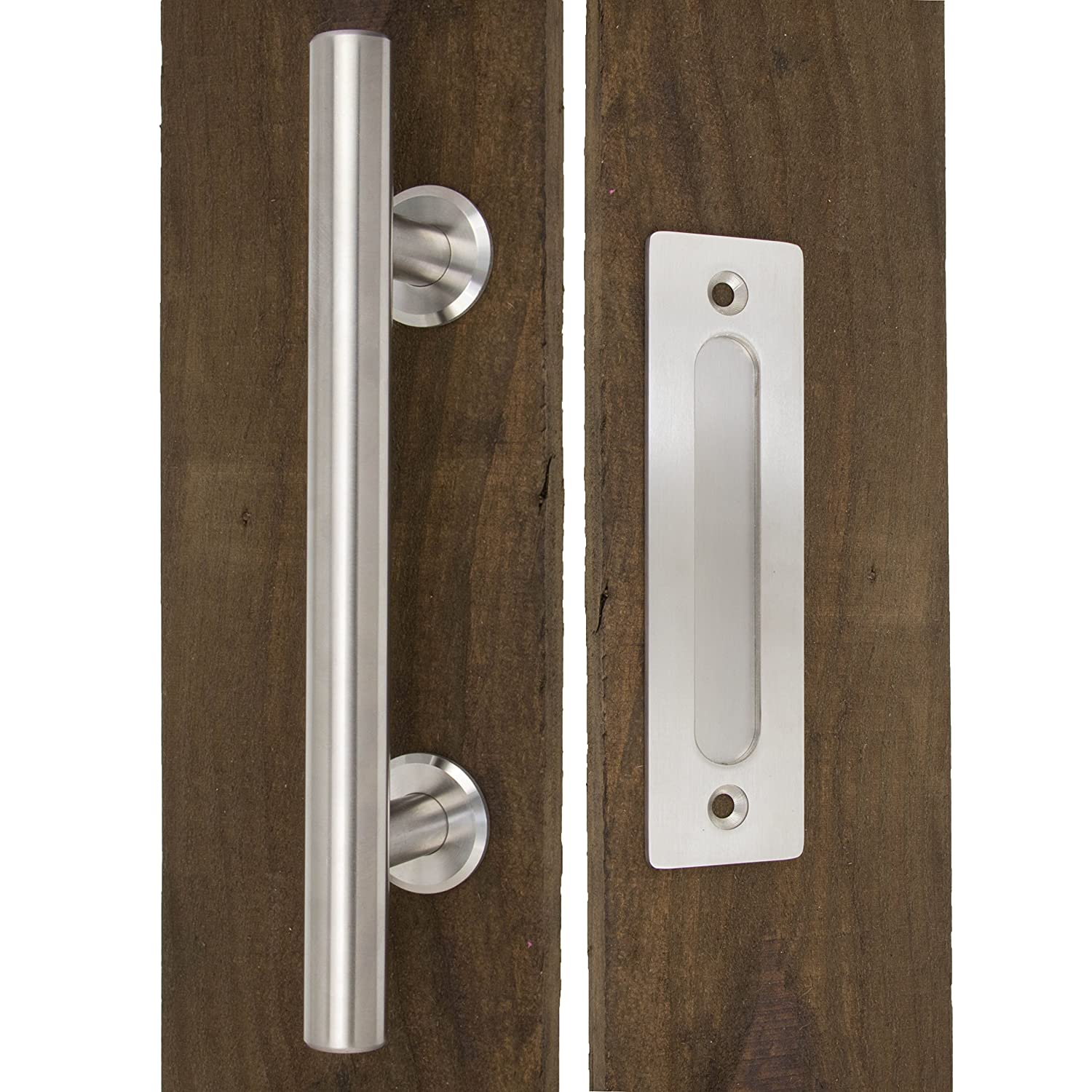 """Set Includes Both the Handle for Exterior of Door and the Flush Pull for Interior Modern Barn Door Hardware Handle by CharmedLife - Large Stainless Steel Sliding Barn Door Handle 12/"""""""