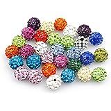 Lot de 50 perles à strass pour bracelet Shamballa Assortiment de couleurs 10 mm
