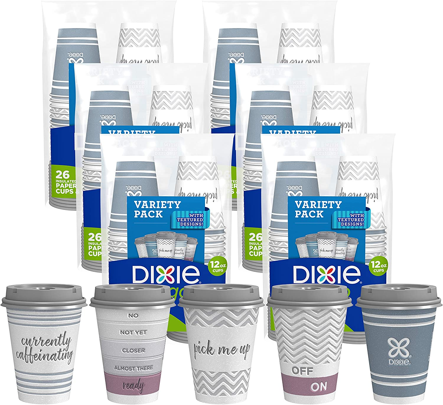 Dixie to Go Disposable Hot Beverage Paper Coffee Cups with Lids, 12 Oz, 156 Count, Assorted Designs