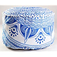 Mandala Ottoman Cover Round Footstool Indian Pouffe Poufs Ethnic Home Decor Floor Throw Round Ottoman Cover