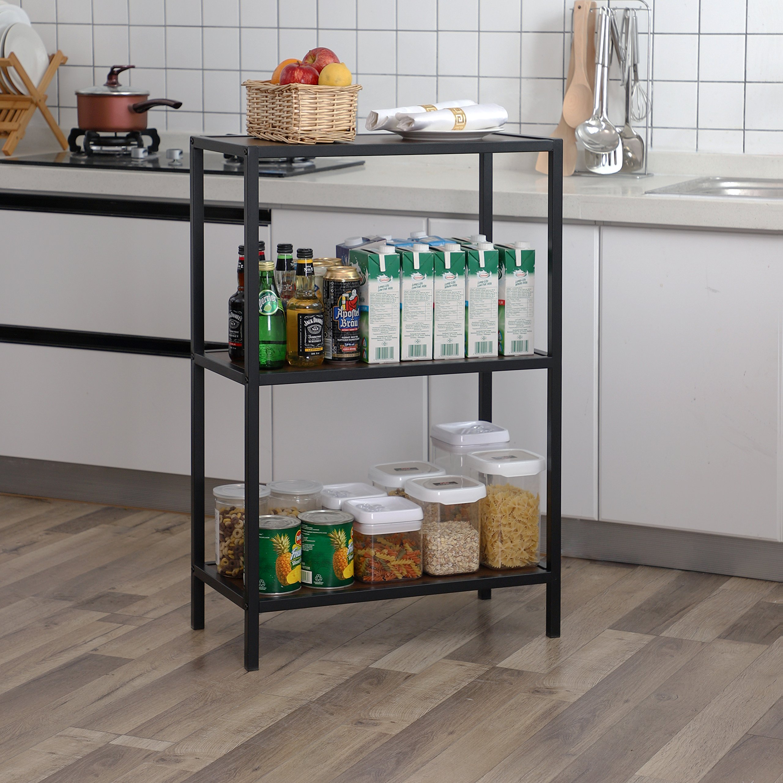 SONGMICS 3-Tier Storage Shelf Rack, Multifunctional Bookcase, Metal Frame Display Rack,Shelving Unit for Kitchen, Living Room,Rustic, ULSS90BX by SONGMICS (Image #4)