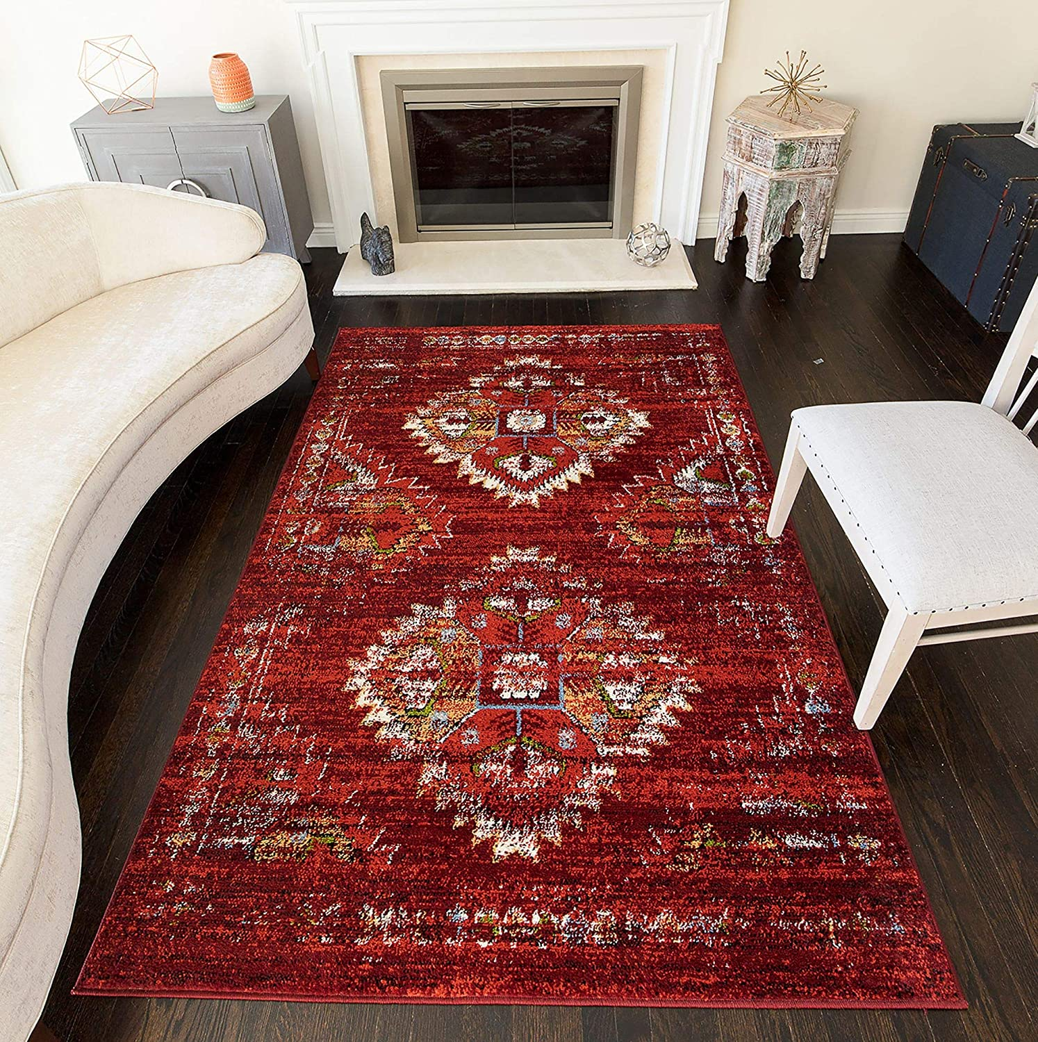 Amazon Com Rugs America Bradford Burnt Red Moroccan Tribal Area Rug 9 X 12 Furniture Decor
