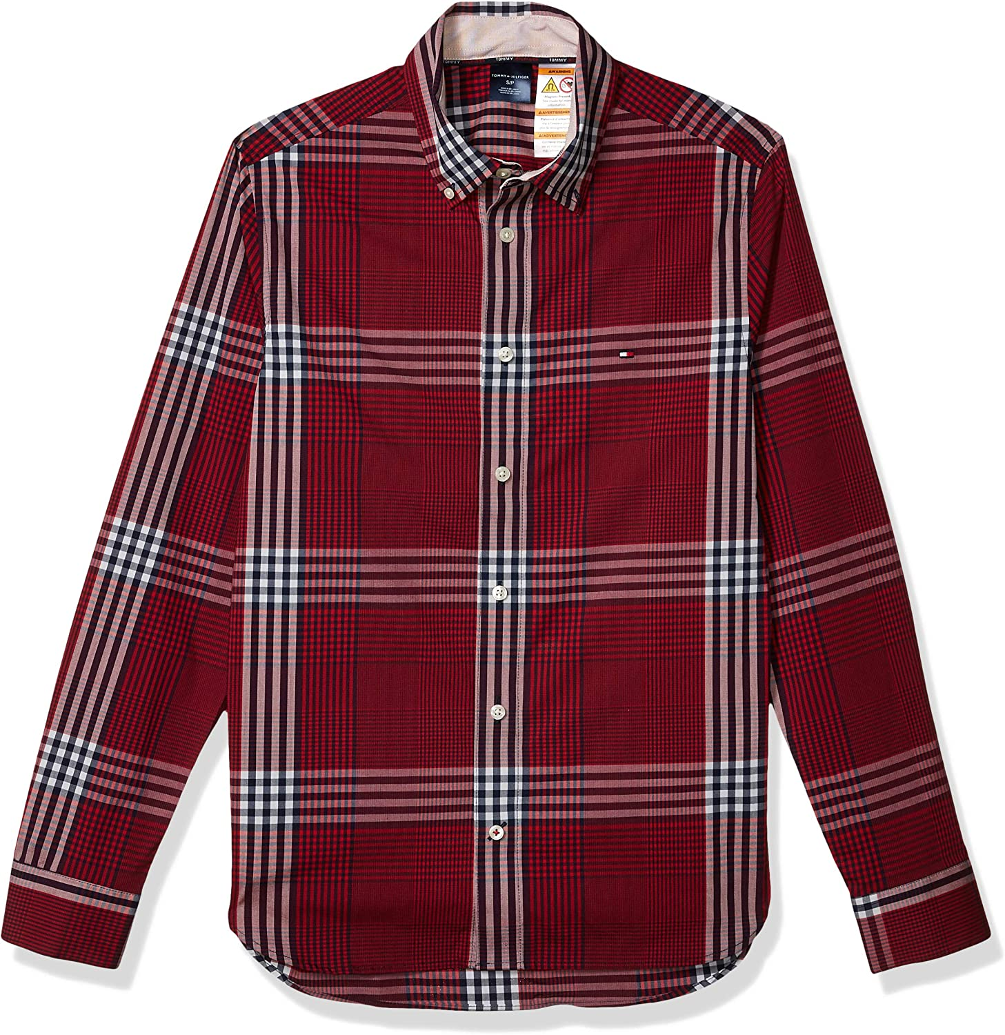 Tommy Hilfiger Men's Adaptive Magnetic Long Sleeve Button Down Shirt Slim Fit