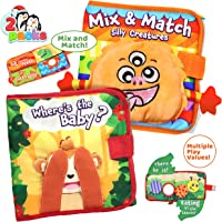 JOYIN 2 Pack Soft Big Baby Cloth Books Fun Interactive Baby Book with Crinkly Sounds, Fun Christmas Toy, Fabric Book…
