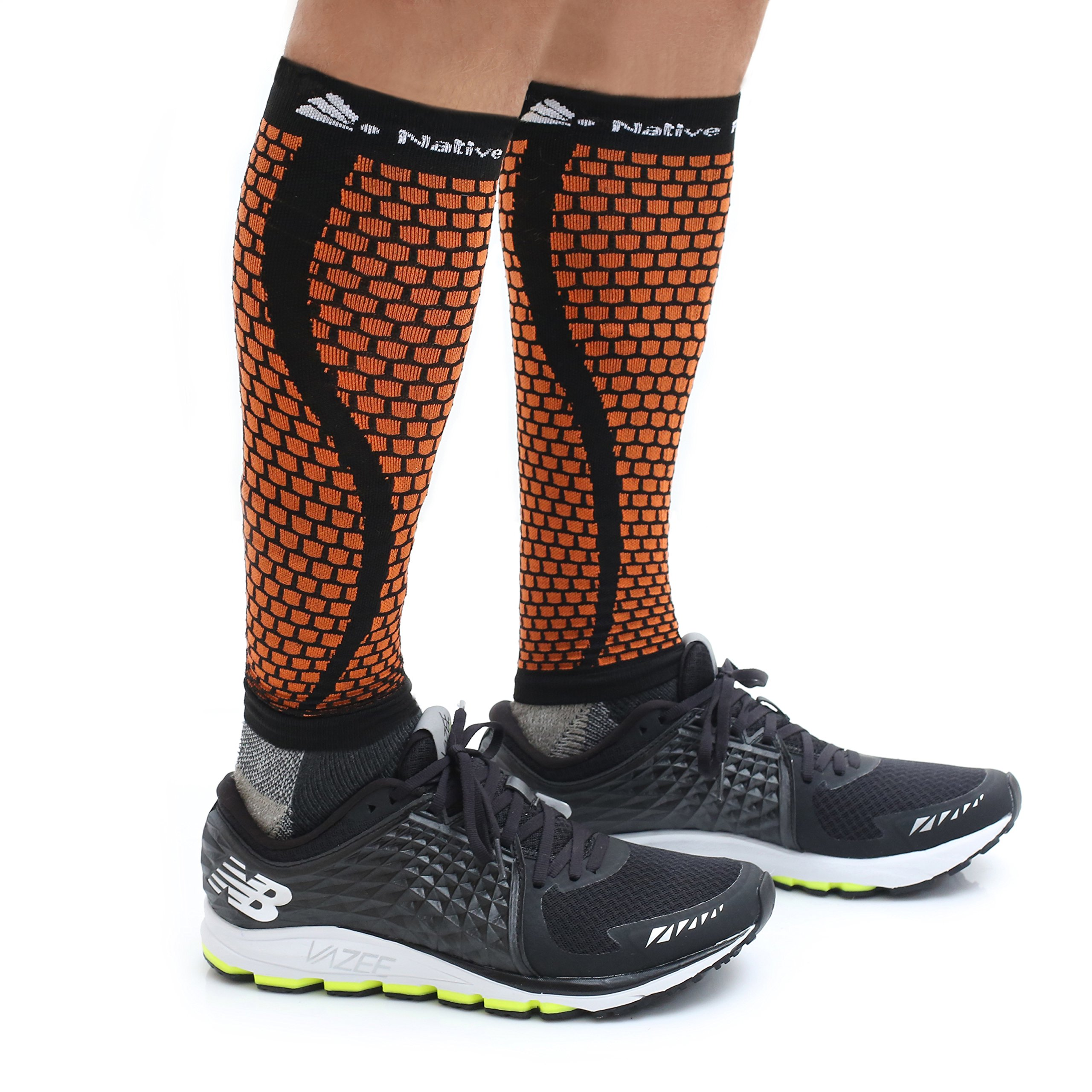 Native Planet HONEYCOMB Calf Compression Sleeves Unisex, MD's Choice, Large - XL, Black