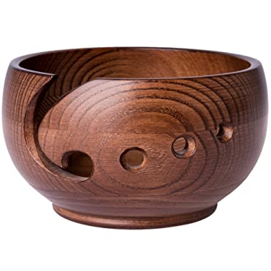 Yarn Bowl for Crochet by Laborwood | Large Size Wooden Knitting Bowl 7 x4  inch | Handmade Heavy Cat Yarn Bowl Wood | Must Have Wooden Knitting Bowls | Set of 3 Gifts Bonus | Best Gift Ever (Chestnut)