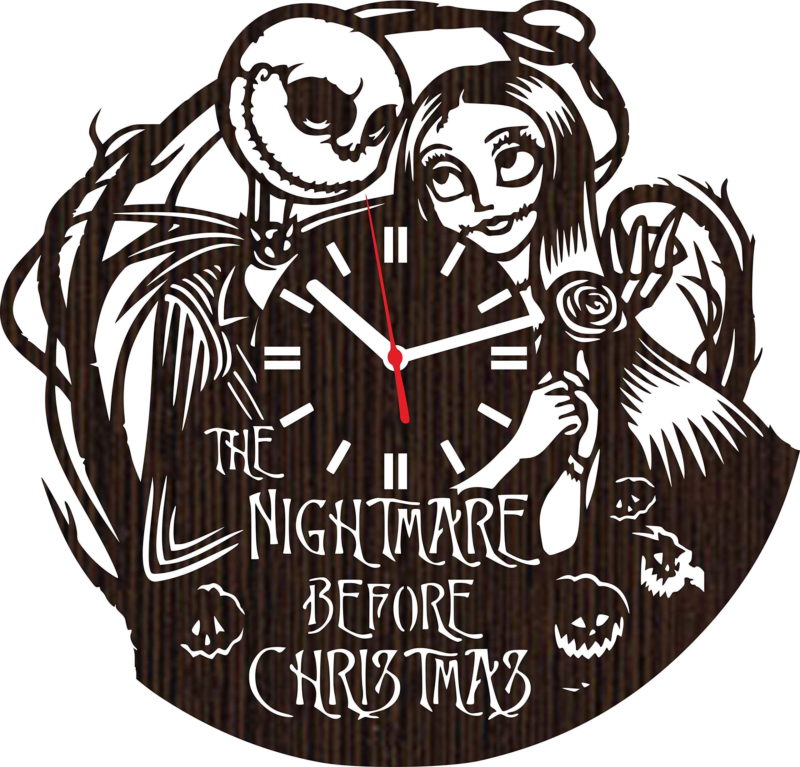Lovelygift4you Wooden Wall Clock The Nightmare Before for Men Women him her Kids Jack Skellington and Sally Simply Meant to be Wedding Home Decor Tim Burton Movie Disney Toys Accessories Vinyl
