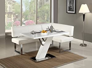 Milan Lillian Gloss White Modern Design Dining Table With Nook
