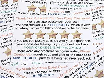 Amazon Com Thank You For Your Purchase And Feedback Request Package Insert Cards For Ebay Business Sellers Add These Smart Shipping Supplies To Your Personal Ebay Start Up Kit 100 Ct Baby