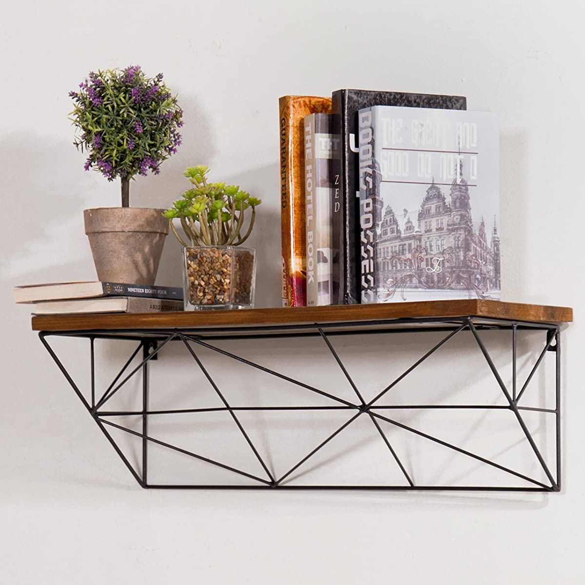 MyGift Modern Wall-Mounted 24-Inch Wood & Metal Wire Floating Shelf