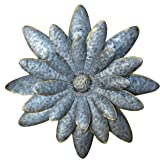 Daisy Dimensional Antique Tin Galvanized Metal Flower Petals Hanging  Mounted Wall Décor Wreath