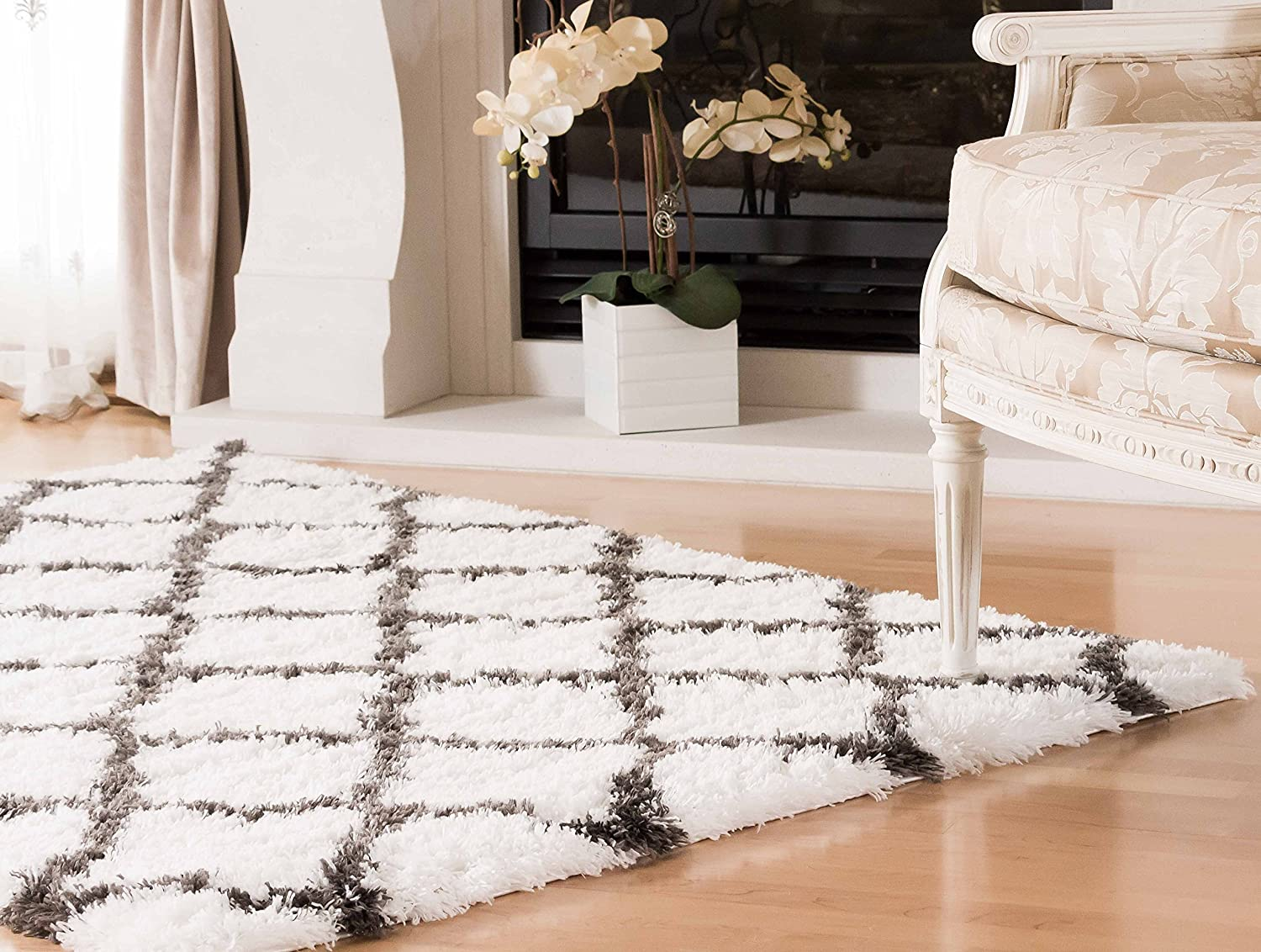 Kerrisdale Turkish Collection Lattice Soft Plush Shag Rug 3x5 AG Home BWC11_WHITE-WHITE-3