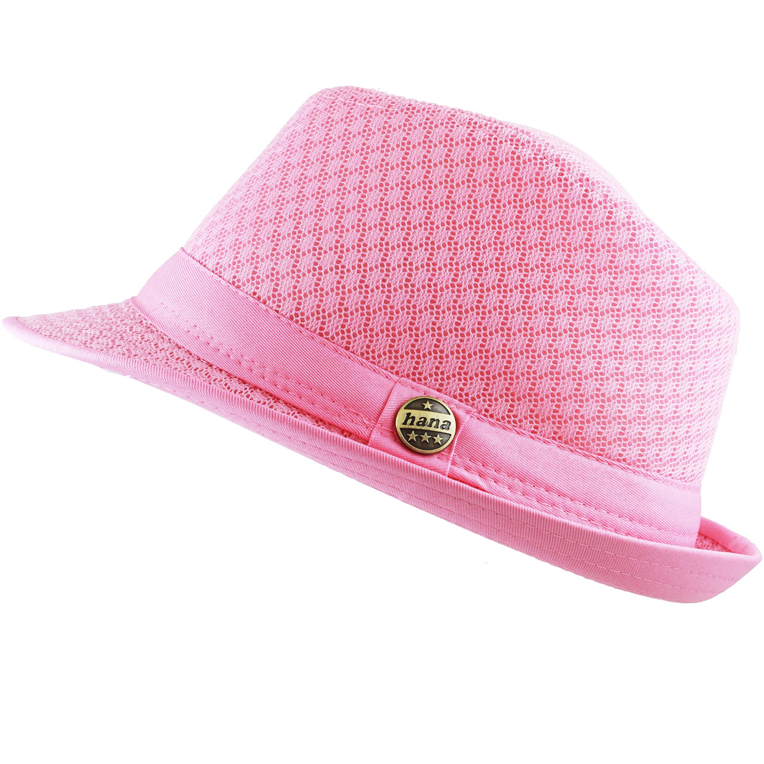 THE HAT DEPOT 200G1015 Light Weight Classic Soft Cool Mesh Fedora hat (L/XL, Lt. Pink)