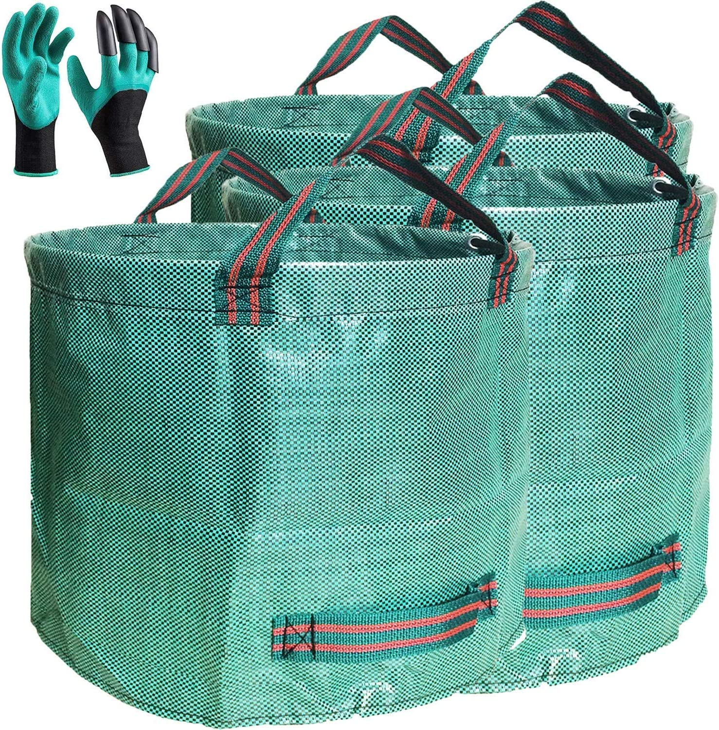 Professional 3-Pack 137 Gallon Lawn Garden Bags (D34, H34 inches) Huge Yard Waste Bags with Coated Gloves, Extra Large Reusable Yard Leaf Bags 4 Handles,Garden Clippings Bags,Leaf Container,Trash Bags