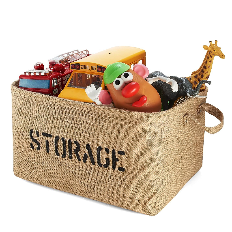 Amazon.com : Jute TOY Storage Bin - Large Size Storage Basket for ...