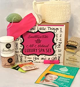 Spa Kit Relaxation Gift Set - All Natural Handmade Soaps, Konjac Sponges, Lip Balm, Tea, Headbands, Upscale Bath and Body Spa Package Organic